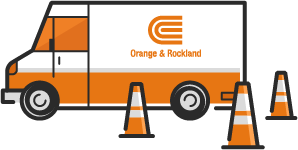 An Orange and Rockland truck with orange construction cones