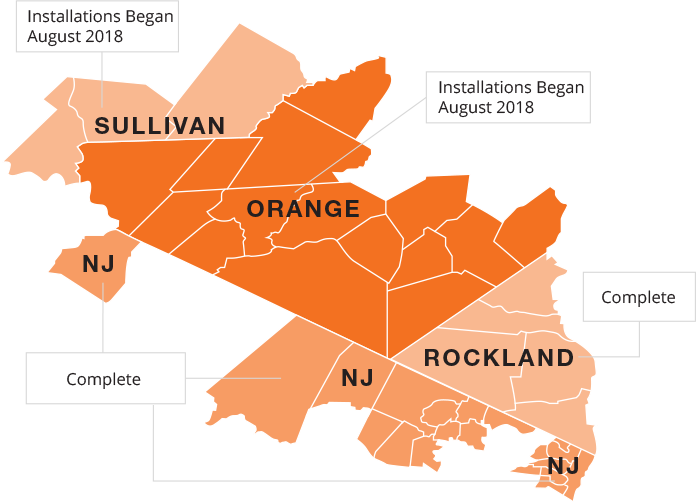 Regional map of planned smart meter installations for Rockland county