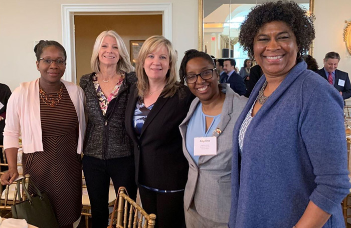 Pictured here at the Fifth Friday meeting at the Stony Hill Inn in Hackensack on March 29 are, from left: Rockland Electric Company's Michelle Reid Jones, JoAnne Seibel and Jacqui Frosco, and Bergen Volunteer Center Board of Directors member Angelina Brady and CEO Lynne Algrant.
