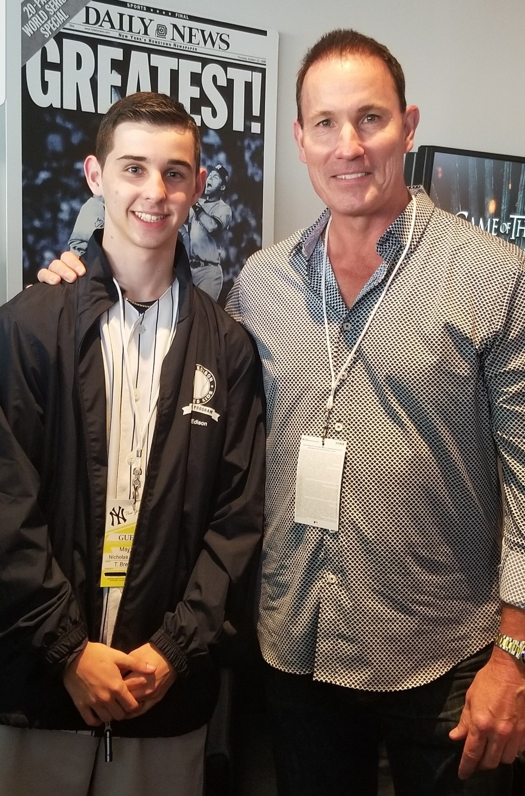 North Rockland High School student Nicholas Galetta, left, and YES Yankees broadcaster and retired Yankees catcher John Flaherty.