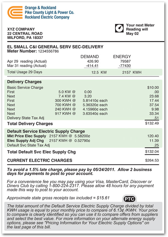 An Example Of A Paper Bill For Pike County Commercial And
